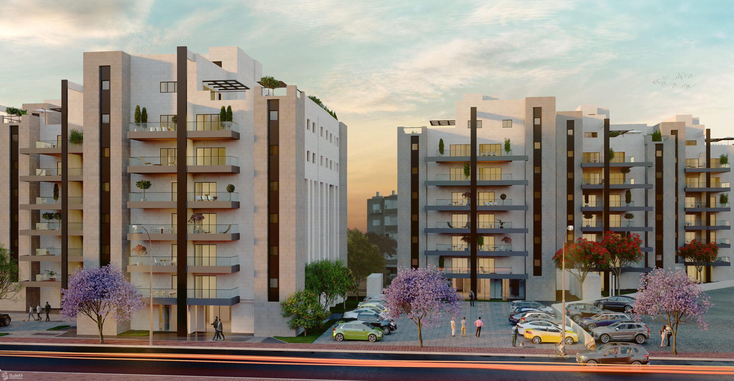 Ha-Tsiyonut St 29-31-33-35-37-39 street view- dusk 1a (1)